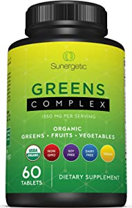 Premium USDA Organic Greens Superfood Tablets – Greens Superfood Powder Includes Veggies, Fruits & Polyphenols – Daily Greens Superfood Powder Supplement– 60 Greens Tablets