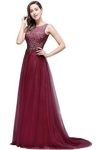 Babyonlinedress Open V-back Sleeveless Tulle floral lace Long Prom dress