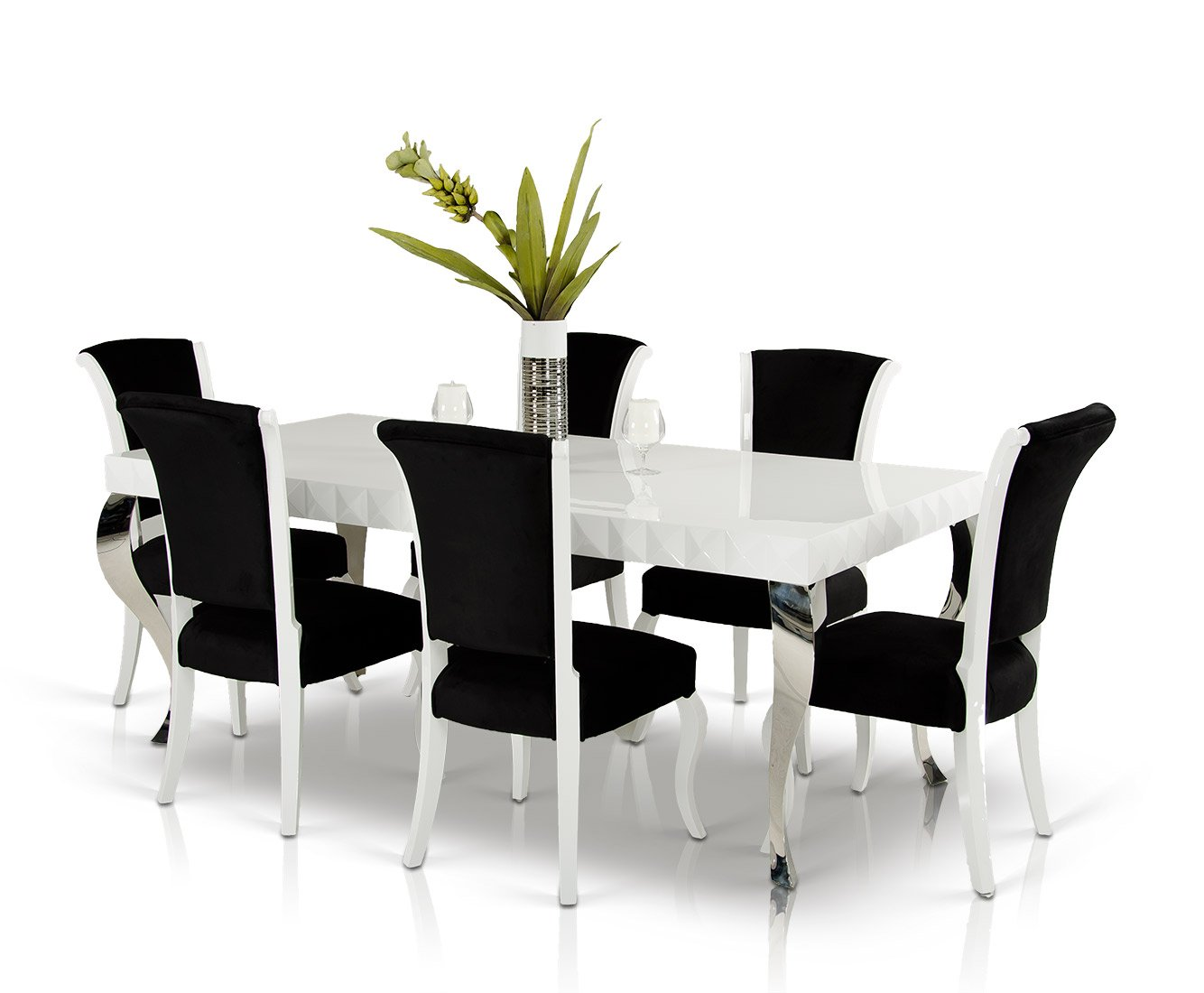 Amazon.com - Mia - White Lacquer Modern White Dining Table - Tables