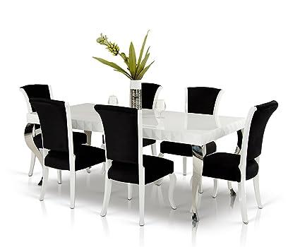 Mia   White Lacquer Modern White Dining Table