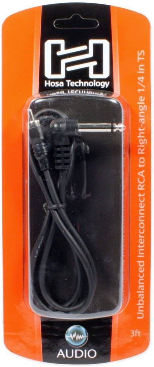 2 Hosa CPR-103R 1//4 TS Right Angle RCA Unbalanced Interconnect Audio Cables