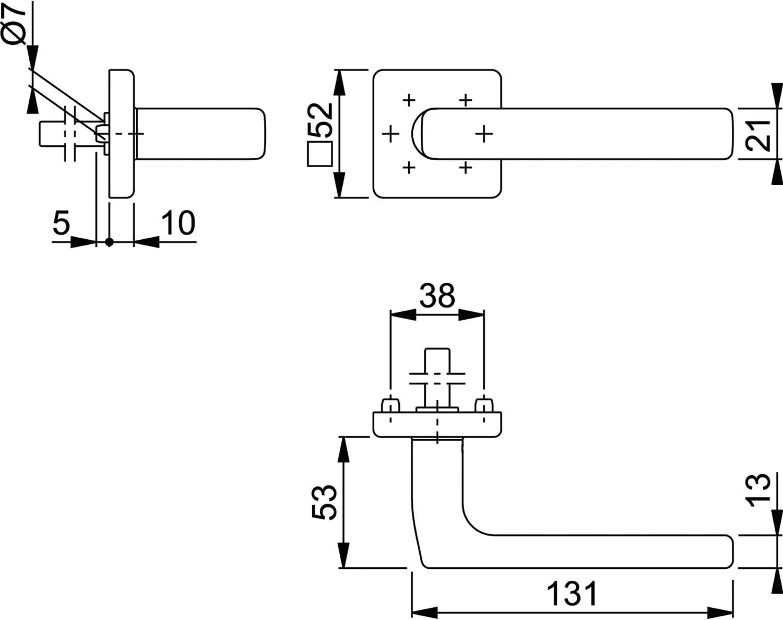 11540680 1 St/ück Vierkantstift 8 mm HOPPE T/ür-Dr/ücker auf eckiger Rosette Edelstahl matt Modell Dallas
