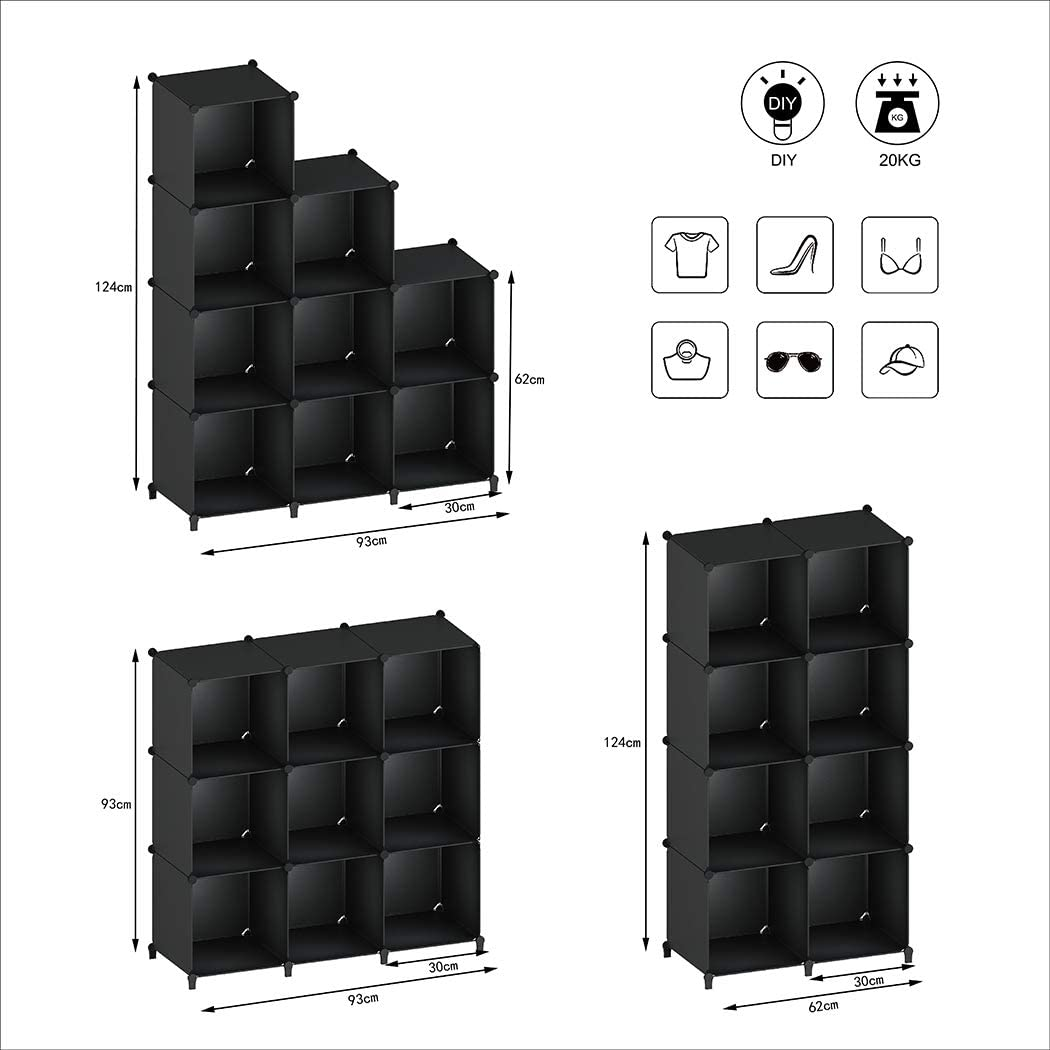 SIMPDIY Portable Storage Organizer Plastic Cubes Sturdy Bookshelf 12 Cubes White Multi-Function Space-Saving Shelves Plastic Sheves Rack