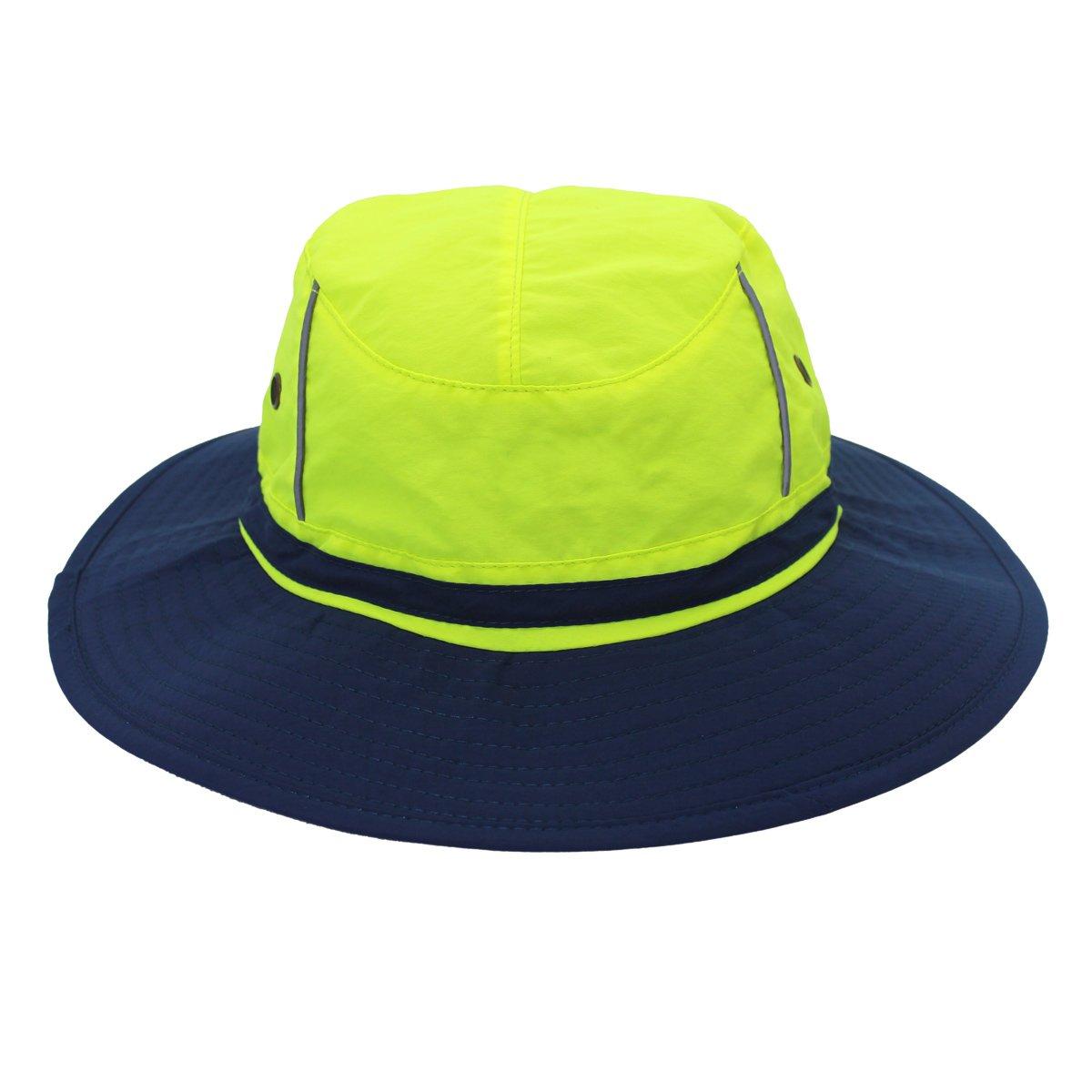 unisex UV50+ Sombrero de pesca reflectante con borde ancho; gorro antirrayos ultravioleta perfecto para el verano Verde navy blue brim Large