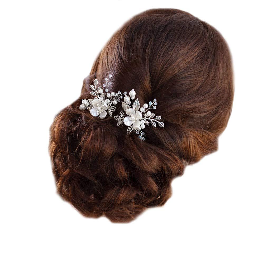 7182ef163b9ad Barogirl Wedding Hair Pins Silver Floral Hair Pin Clip Leaf Wedding Hair  Accessories for Brides and...