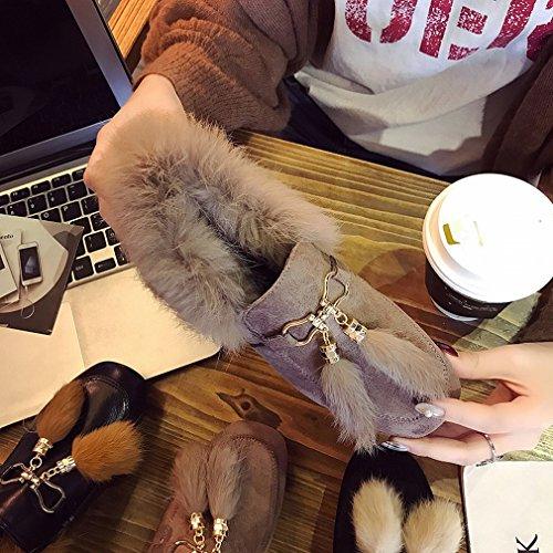 Cotone con Peluche XAI Ruvido Scarpe Quadrate Inverno con Uno Spesso B Scarpe Scarpe Cashmere Femminile in Autunno Più Europee e tTzTwq