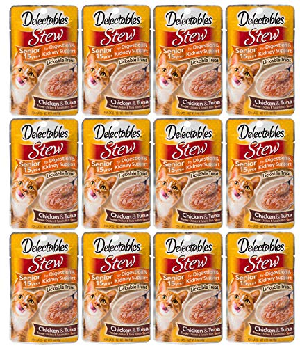 Delectables Stew Senior 15 Years + Lickable Wet Cat Treats - Chicken & Tuna  - 12 Pack