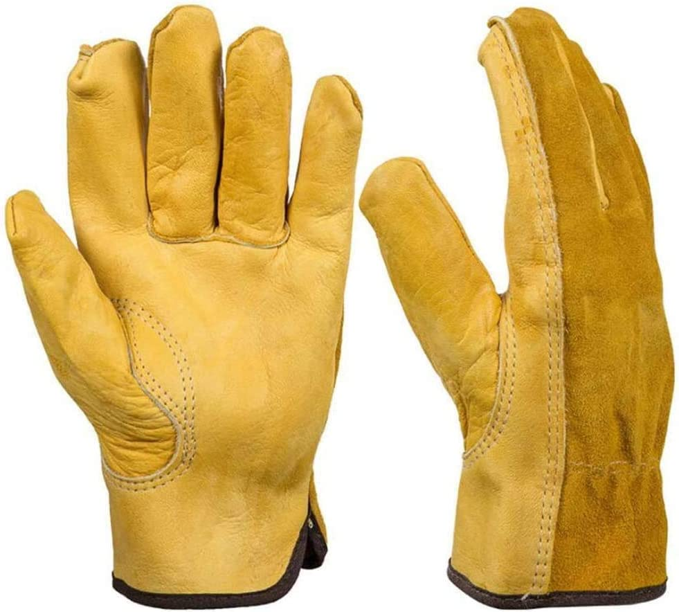 Timeek Heavy Duty Gardening Gloves, 2 Pairs Breathable Cowhide Leather Garden Gloves Working Gloves for Men and Women, Ideal for Gardening, Trucking, Welding