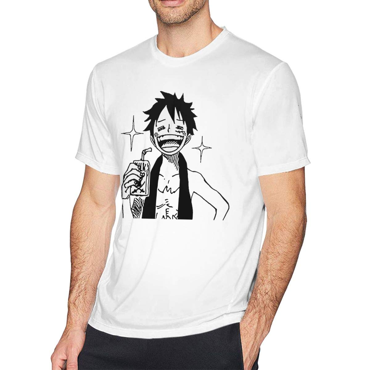 Bfcxbgdsig ONE Piece Luffy Soft and Comfortable Fashionable Tee with Round Collar White