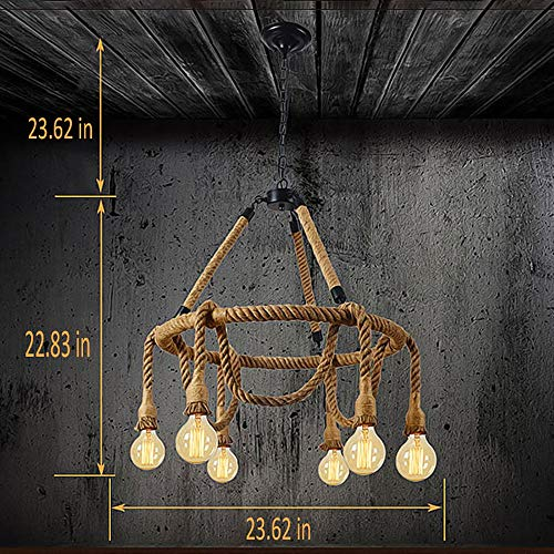HAIXIANG 6 Light Hemp Rope Pendant Lamp Vintage Industrial Pendant Lamp Retro Edison Nautical Manila Rope Ceiling Light Fixtures by HAIXIANG (Image #7)