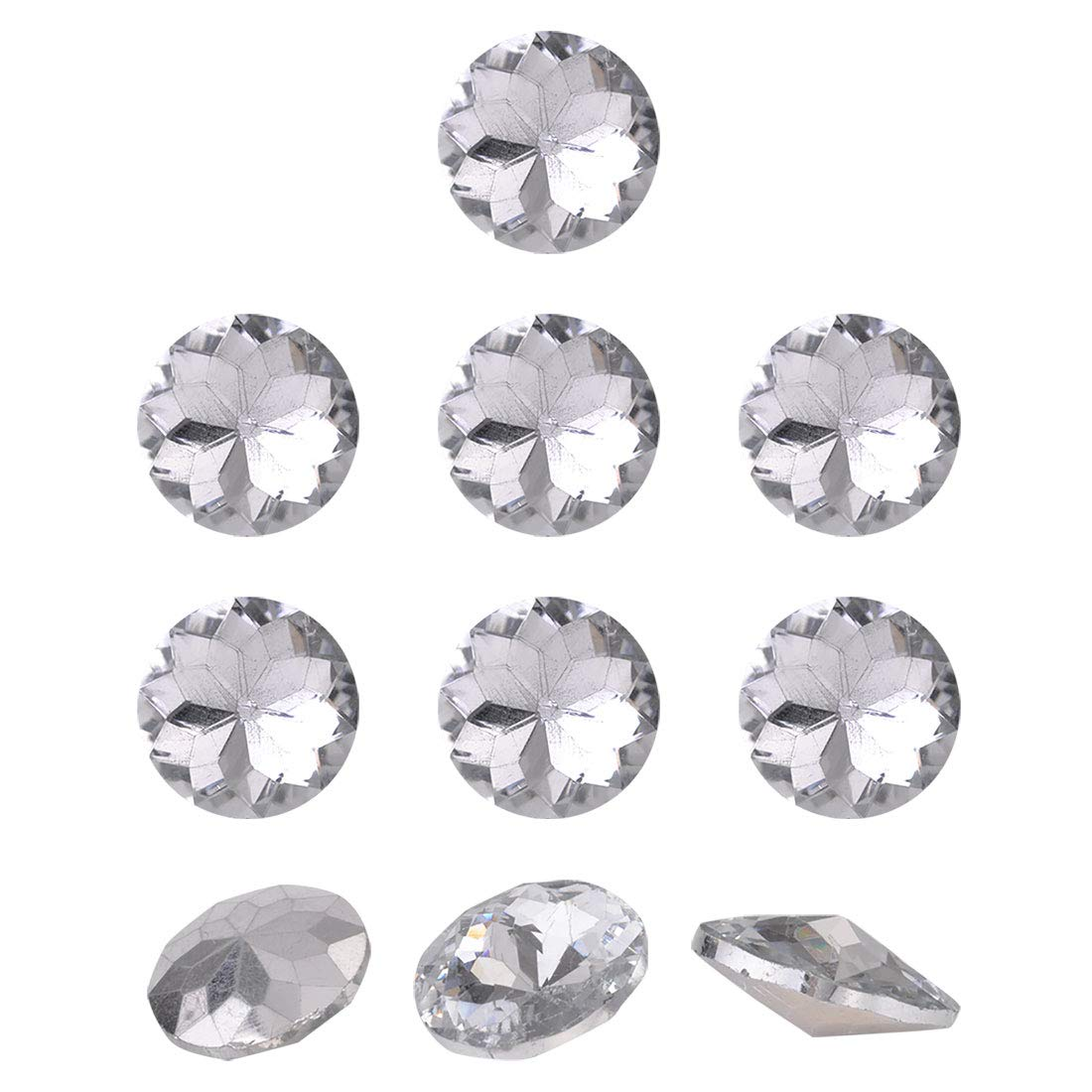 uxcell 10pcs Furniture Tack Nails 22mm Dia Round Head Diamond Shape Glass Thumbtack DIY Sofa Buttons Headboard Crafts Decorate Clear