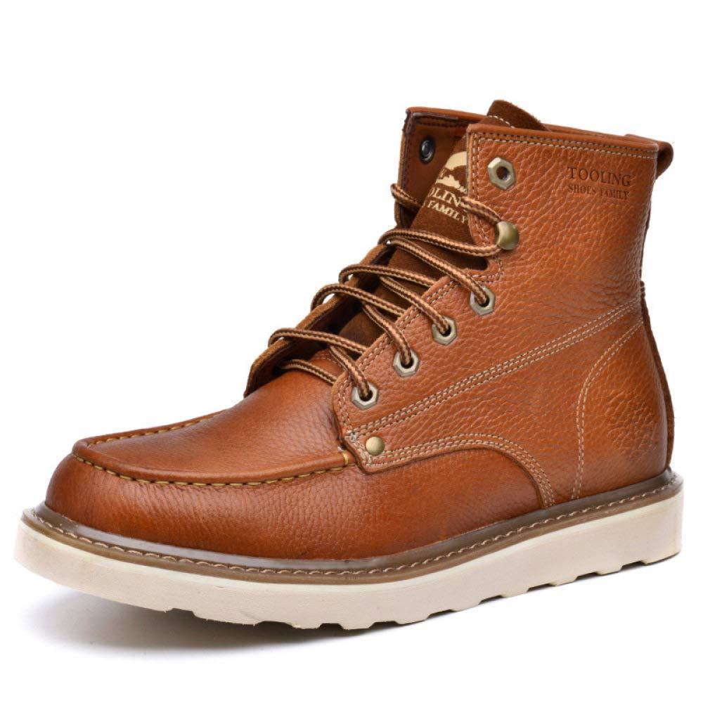 GZZ Schuhe Herren Stiefel Martin Outdoor Rutschfeste Atmungsaktiv Schnee Werkzeug Werkzeug Werkzeug Leder Stiefel Herbst Winter Keep Warm,Light-braun-40 15d333