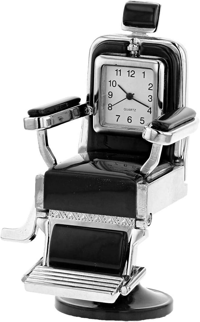Miniature Black Barber Chair Novelty Quartz Movement Desktop Collectors Clock TM16