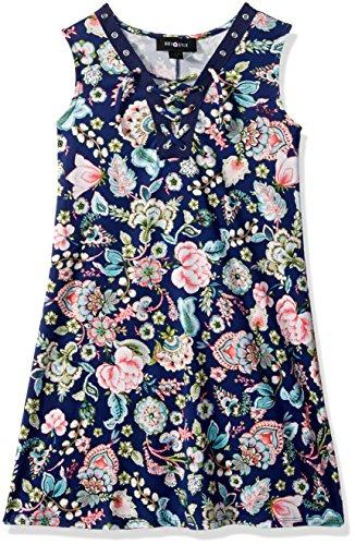 - Amy Byer Girls' Big Sleeveless Sneaker Dress, Navy/Coral Paisley Jungle Floral, S