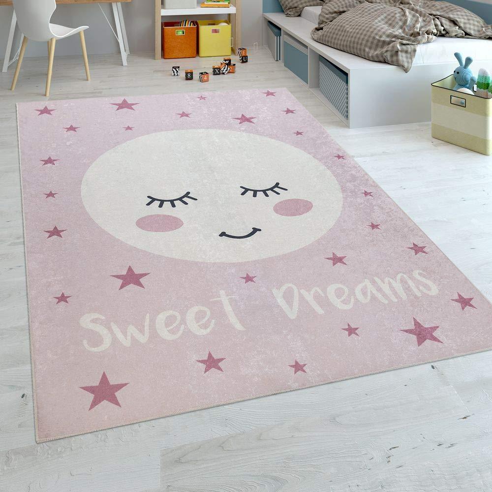 Paco Home Kinderteppich Kinderzimmer Mädchen Waschbar Sterne Niedlicher Mond Spruch Rosa, Grösse:180x280 cm