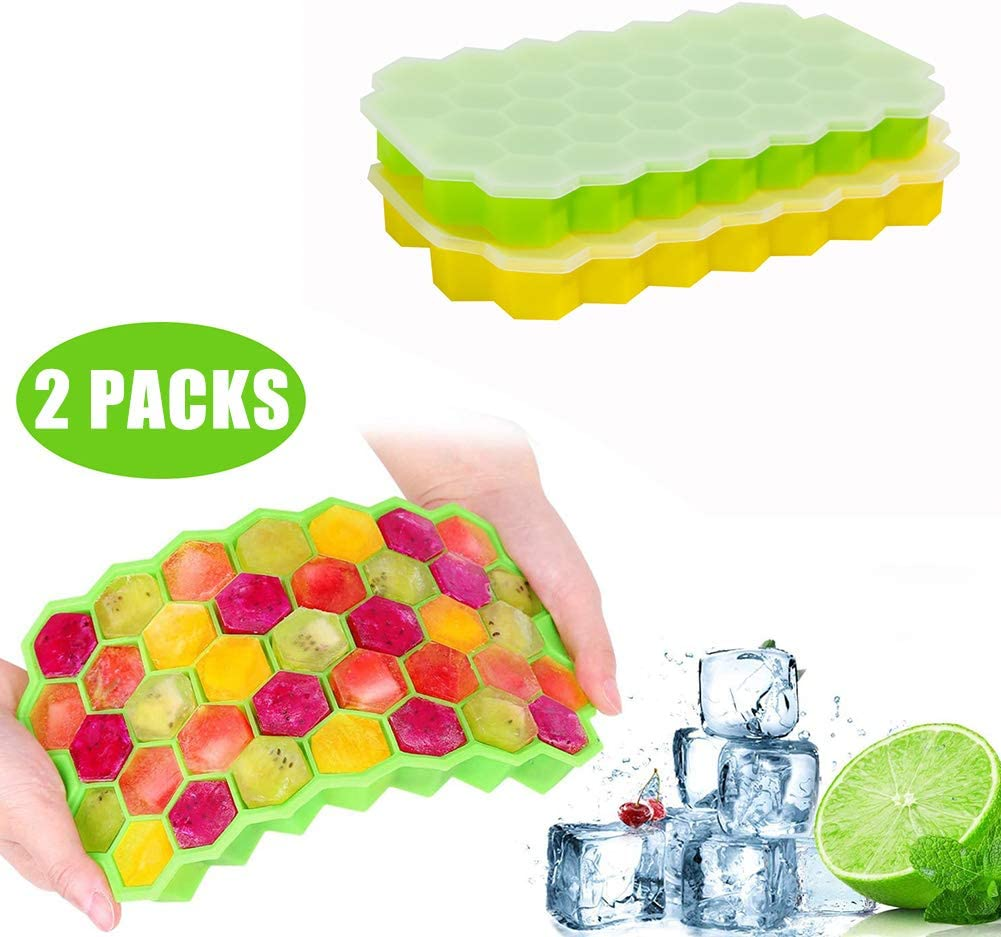Ice Trays - Flexible Silicone Ice Cube Trays 2 Packs Yellow and Green