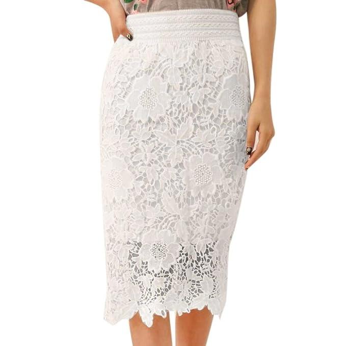 Falda Recta con Encaje Blanco Mujer Faldas Altas De Cintura Falda Huecos Faldas  Largas Elegantes Falda 9d2fb89a58fa