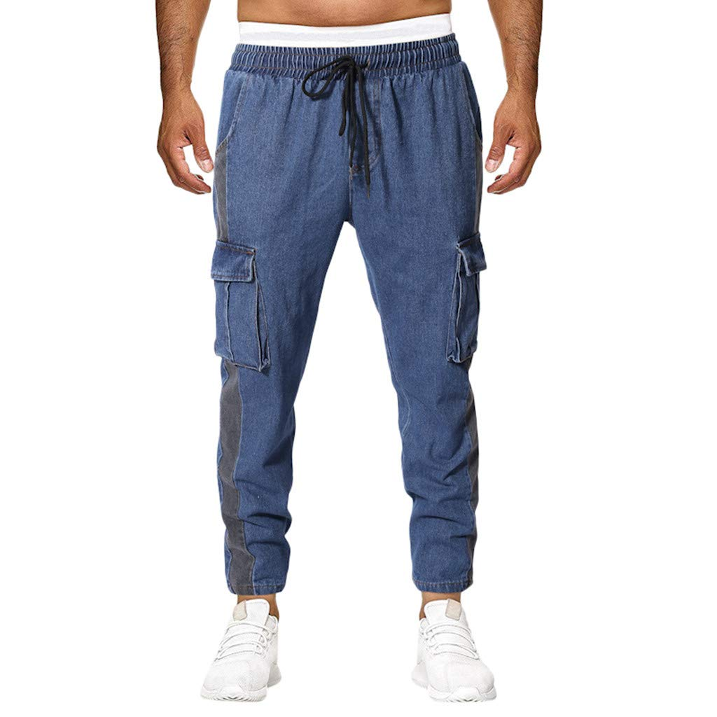 Palarn Casual Athletic Cargo Pants Clothes, Summer New European and American Mens Multi-Pocket Casual Plaid Long Short Blue