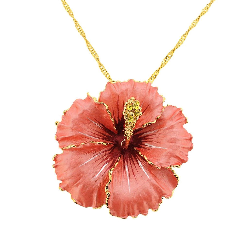 Amazon orange hawaiian hibiscus swarovski crystal flower brooch amazon orange hawaiian hibiscus swarovski crystal flower brooch and pendant jewelry izmirmasajfo
