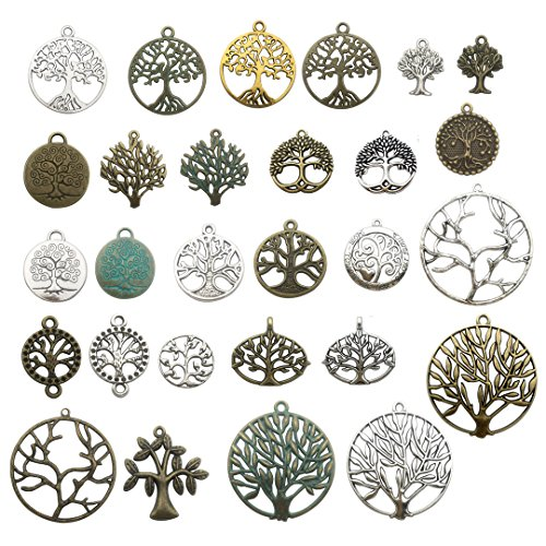 (100g Craft Supplies Mixed Tree Of Life Pendants Beads Charms Pendants for Crafting, Jewelry Findings Making Accessory For DIY Necklace Bracelet (tree of life charms))