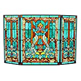 28''H Tiffany Style Stained Glass Fleur de Lis Fireplace Screen - Green