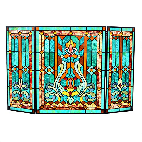 28''H Tiffany Style Stained Glass Fleur de Lis Fireplace Screen - Green by River of Goods