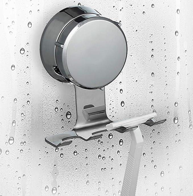 1PCS Plastic Blue Suction Cup Razor Holder Bathroom Shower Rack Single O0Y0