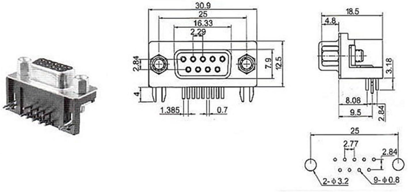 10/pcs Dr9/RS232/9pin m/âle /à souder connecteur jack socket PCB /à 90/degr/és pour interface informatique