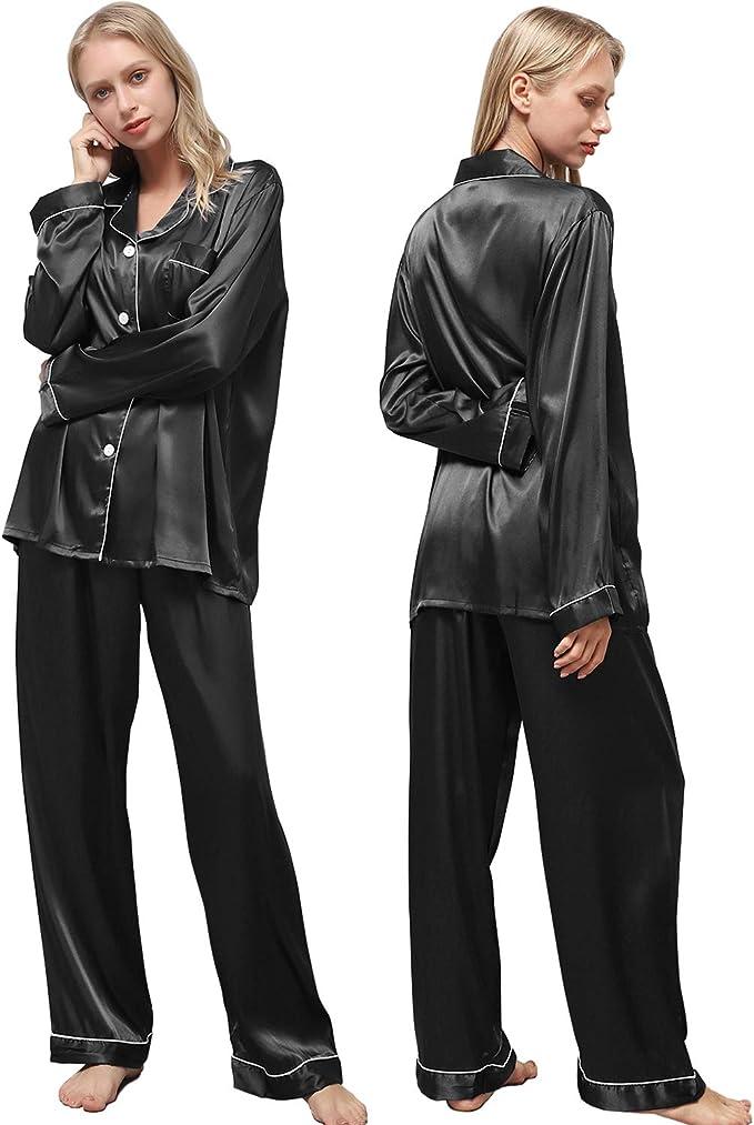 Conjunto de pijamas de satén de manga larga