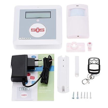 KKmoon K3 - Alarma Inalámbrica GSM SMS Pantalla LCD SOS con Sensor de Movimiento PIR Sistema