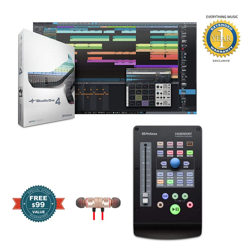 PreSonus Faderport USB Production Controller with Studio One Recording Software includes Free Wireless Earbuds - Stereo Bluetooth In-ear and 1 Year Everything Music Extended Warranty
