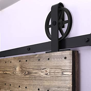 Herraje Puerta Corredera 183cm/6ft Negro, CCJH Riel Puerta Corredera Armario, Adecuado para 1 Puerta de 92 cm de Ancho [T Shape Big Wheel Hanger]: Amazon.es: Bricolaje y herramientas