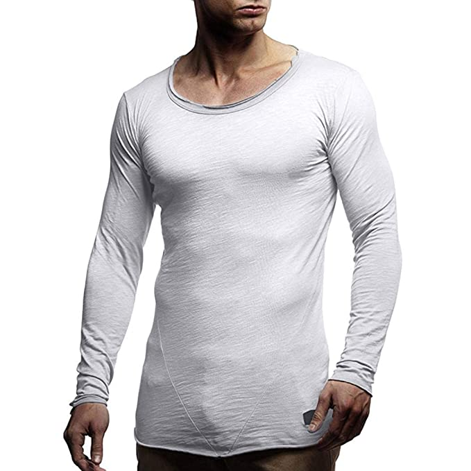 Yvelands Mens Fashion Muscle Manga Larga Camiseta O Cuello Slim Fit Patchwork Tops Blusa Camisas,