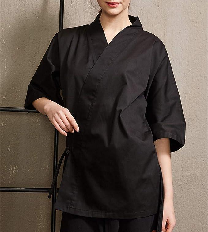 Japanese 3//4 Sleeve Chef Coat Men and Women Summer Sushi Restaurant Kimono Chef Waiter Work Uniform