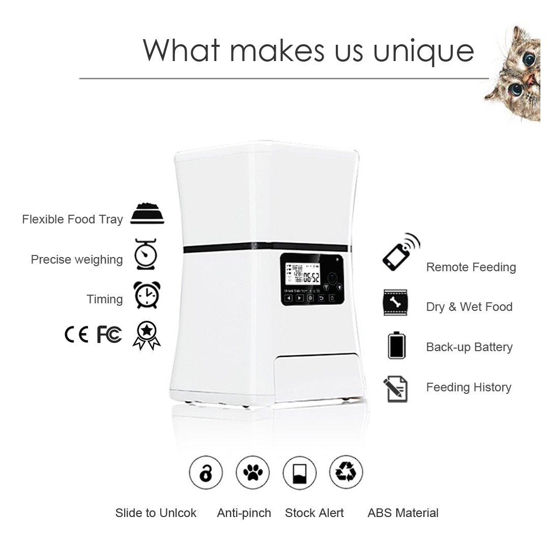 Automatic Pet Feeder, Smart Programmable Food Dispenser for Dog & Cat. For Dry & Wet Food. With IOS & Android APP, 6 lb Capacity by ARTDOU (Image #2)