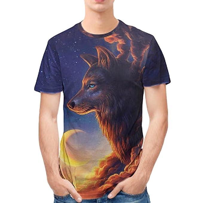 Cinnamou Camiseta de Manga Corta con Cuello Redondo y Manga Corta para Hombres Verano Tops y Blusa Estampada Casual Pullover ipAFT