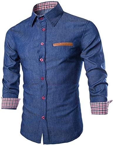 Camisa De Hombre De Manga Larga Sonnena Camisas De Mezclilla Ropa de Fiesta Elásticas Ajuste Regular Ocio De Negocios Camisas De Manga Larga Hombres Moda Camisas Estilo Vaquero Casual Comodidad Tops: Amazon.es: