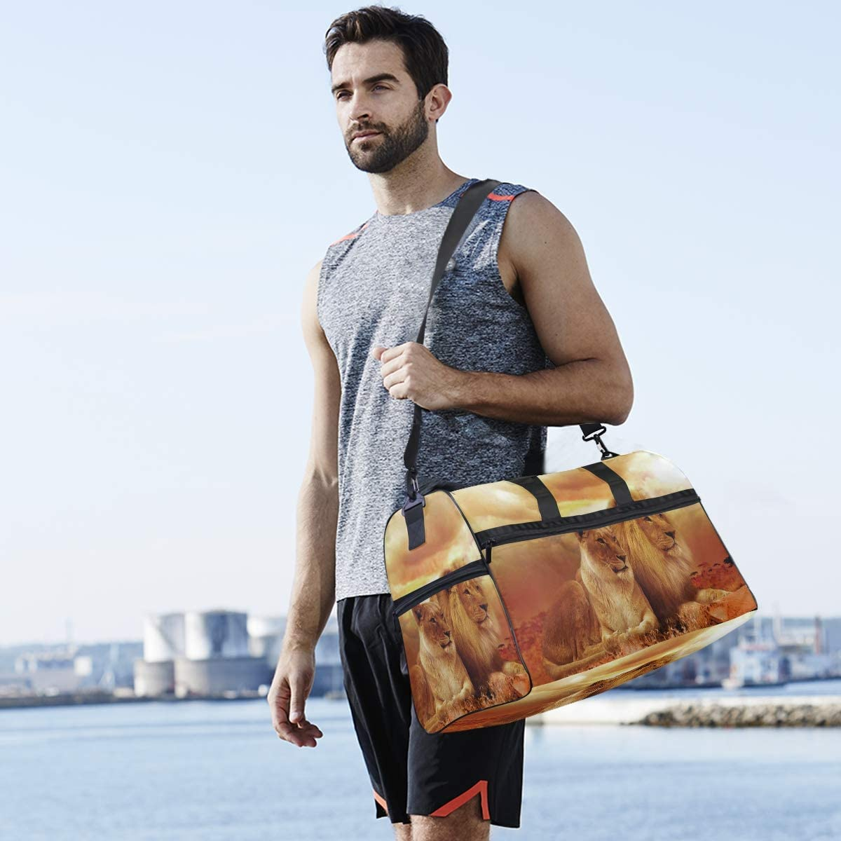 MUOOUM Sundown Lions Large Duffle Bags Sports Gym Bag with Shoes Compartment for Men and Women