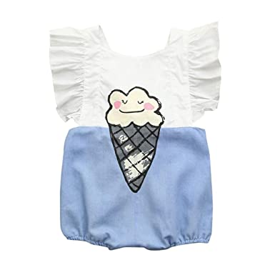 09252e6a4953 Amazon.com  Lurryly 2019 Baby Girls Cute Romper Jumpsuit Newborn Kids Ice  Cream Print Outfits Clothes 0-2T  Clothing