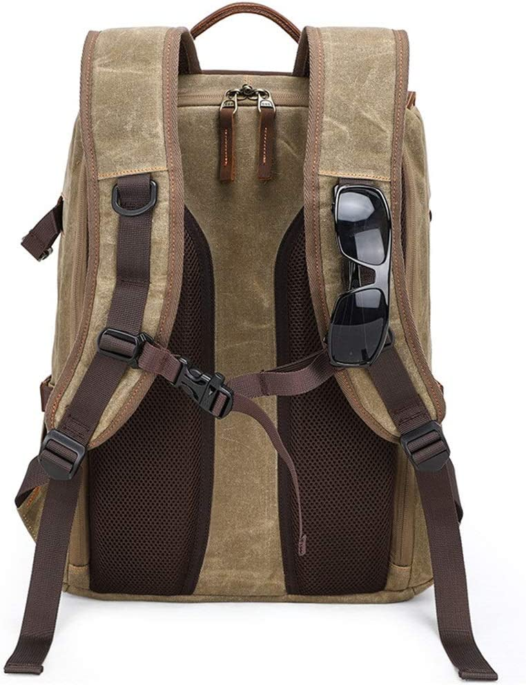 Rnwen Camera Backpack Photography Bag Camera SLR Shoulder Photography Backpack Waterproof Large Capacity Wax Dye Canvas Backpack Outdoor Bag Camera Cases Color : Khaki, Size : 31x18x45cm