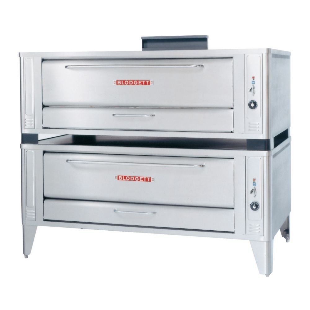 Large Gas Pizza Deck Oven - Two Base Sections With 12 Inch Black Legs, Stainless Steel Crown Angle Leg Frame, Stainless Steel Draft Diverter Or Draft Hood, Flue Connector Andcrown Angle Trim -- 1 Each.