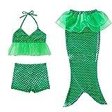 Girl 3Pcs Mermaid Tail Swimmable Bikini Set Bathing Summer Swimwear Cosplay 3-9Y