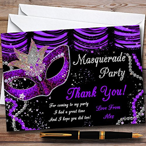 Purple & Black Mask Masquerade Ball Personalized Party Thank You Cards ()