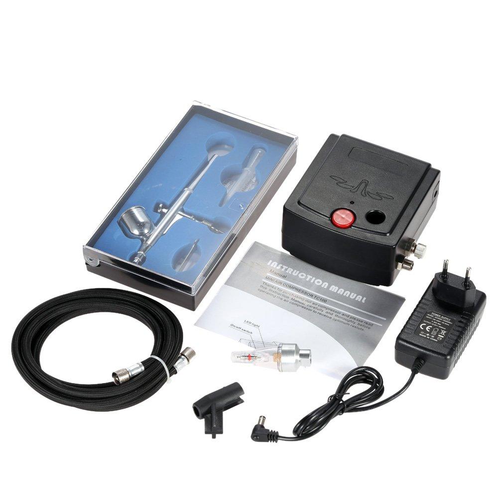 KKmoon 100-250V Aerógrafo Gravedad Alimentar Doble Acción Aire Compresor Equipo para Art Pintura Tatuaje Manicura Arte Pastel Rociar Modelo Aire Cepillo Uña ...