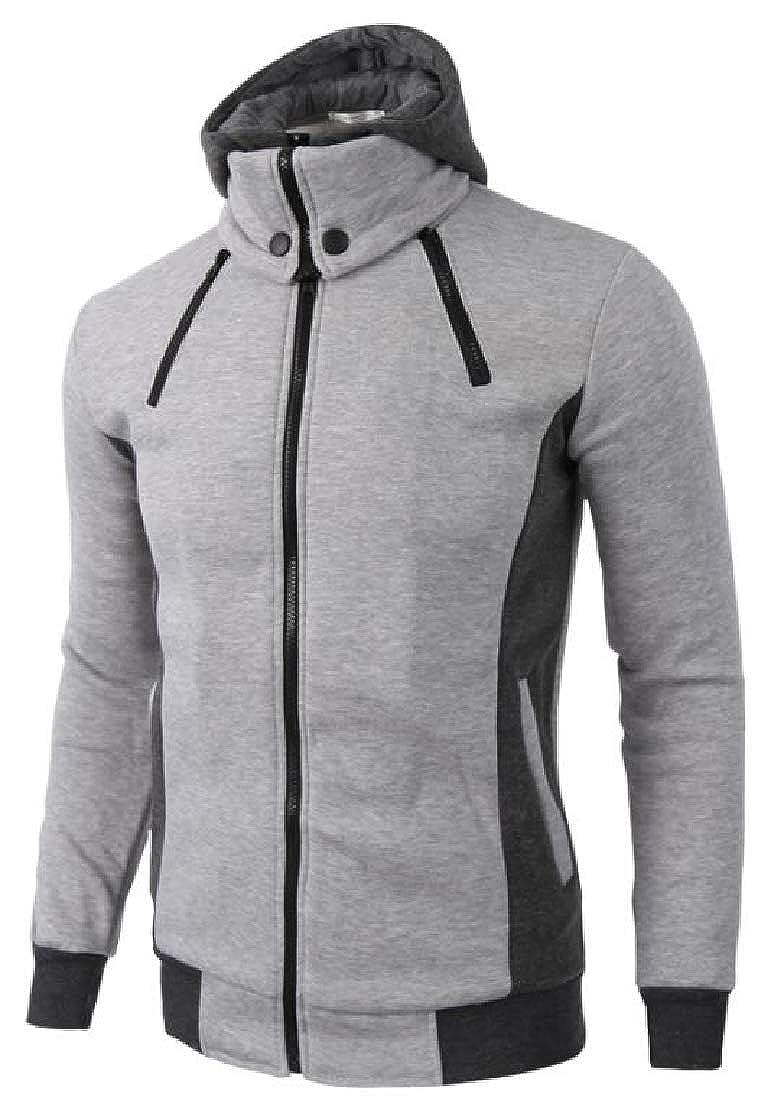 ainr Men Double Zipper Hooded Jacket Turtleneck Fleece Hoodie Coat