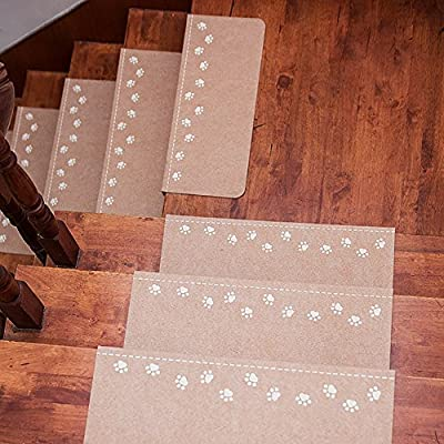 """Lalago Paw Pattern Luminous Carpet Stair Tread Mats - (21.65""""x8.86"""")   Reusable, Noise Reduction, Non-slip Protection, Luminous at Night - Pack of 5"""