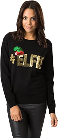 Fashion Union Women S Black Sequin Hash Tag Elfie Christmas Knitted Novelty Jumper From Brand Attic Amazon Co Uk Clothing