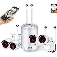 [2019 Más Reciente] Zoohi Kit Cámaras de Vigilancia Inalámbricas 4CH 1080P Sistema de Seguridad Inalámbrico con Disco Duro de 1TB 4 Cámaras de Seguridad WiFi Exterior Visión Nocturna Acceso Remoto