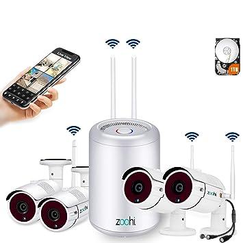 [2019 Más Reciente] Zoohi Kit Cámaras de Vigilancia Inalámbricas 4CH 1080P Sistema de Seguridad