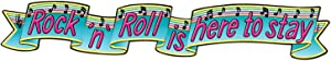 Beistle Jointed Rock And Roll Banner 50's Decorations Music Party Supplies, 6', Blue/Pink/Green/Black